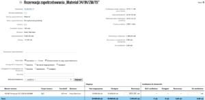 Printegy MIS - Widok rezerwacji zapotrzebowan